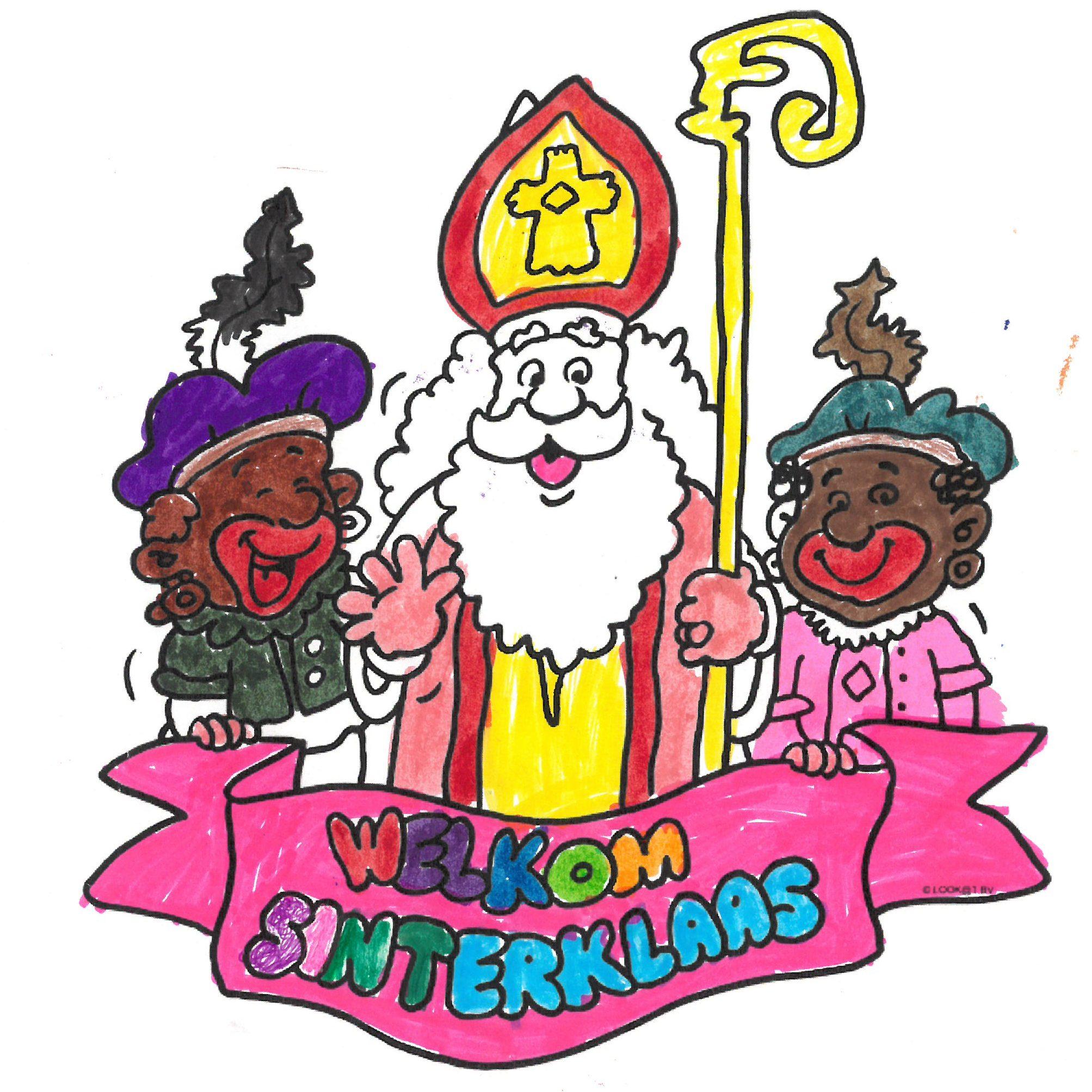 De Sint is blij met al zijn ontvangen tekeningen